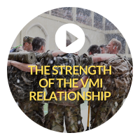 Clickable button with image of cadets embracing and text The Strength of the VMI Experience