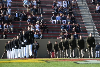 VMI cadets enter Foster Stadium for the 2021 Joint Commissioning Ceremony